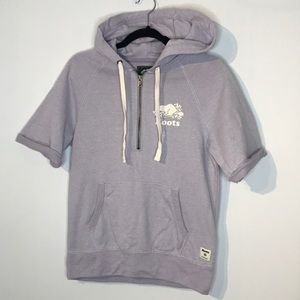 Roots lilac cotton blend half zip hoodie
